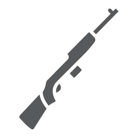 Rifle carbine glyph icon, army and military, firearm sign, vector graphics, a solid pattern on a white background.