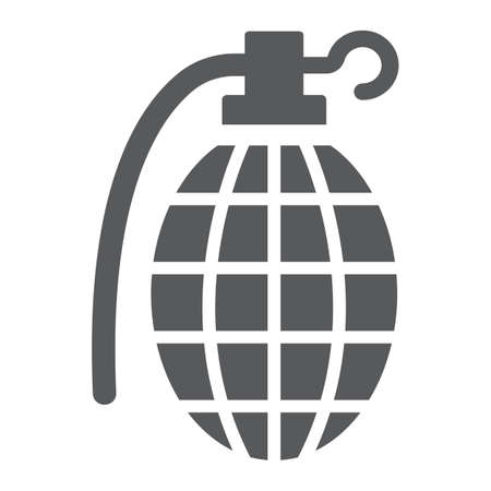 Grenade glyph icon, army and military, hand bomb sign, vector graphics, a solid pattern on a white background.  イラスト・ベクター素材