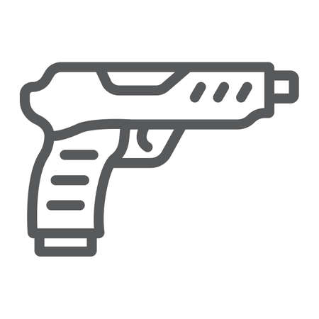 Pistol line icon, army and military, gun sign, vector graphics, a linear pattern on a white background.