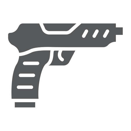 Pistol glyph icon, army and military, gun sign, vector graphics, a solid pattern on a white background.