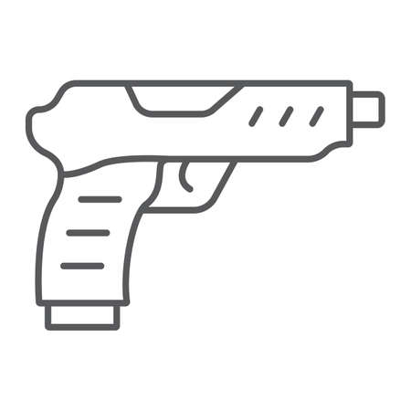Pistol thin line icon, army and military, gun sign, vector graphics, a linear pattern on a white background. Ilustracja