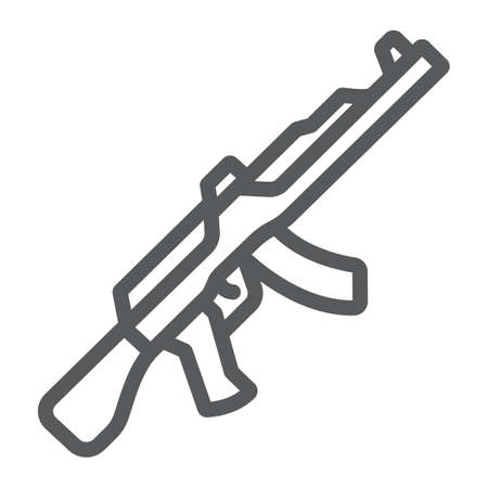 AK47 line icon, rifle and military, machine gun sign, vector graphics, a linear pattern on a white background.