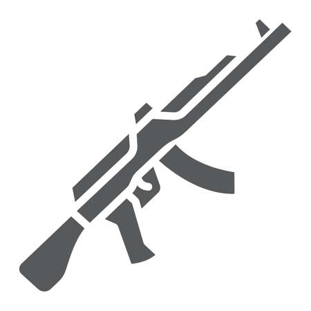 AK47 glyph icon, rifle and military, machine gun sign, vector graphics, a solid pattern on a white background.