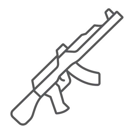 AK47 thin line icon, rifle and military, machine gun sign, vector graphics, a linear pattern on a white background.