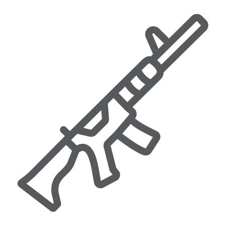 M4A1 line icon, rifle and military, automatic machine sign, vector graphics, a linear pattern on a white background. Ilustracja
