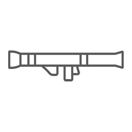 Rocket launcher thin line icon, army and military, weapon sign, vector graphics, a linear pattern on a white background.