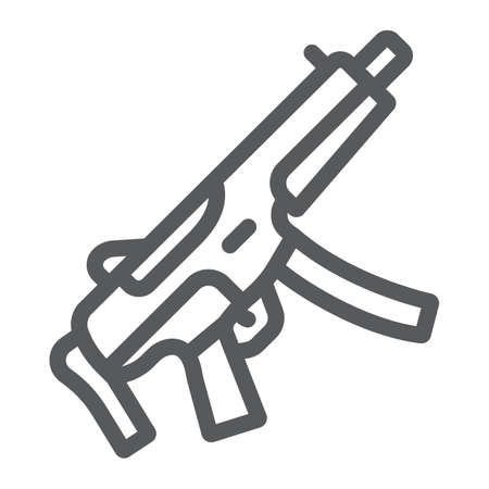 Submachine gun line icon, army and military, firearm sign, vector graphics, a linear pattern on a white background.