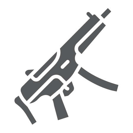 Submachine gun glyph icon, army and military, firearm sign, vector graphics, a solid pattern on a white background.  イラスト・ベクター素材