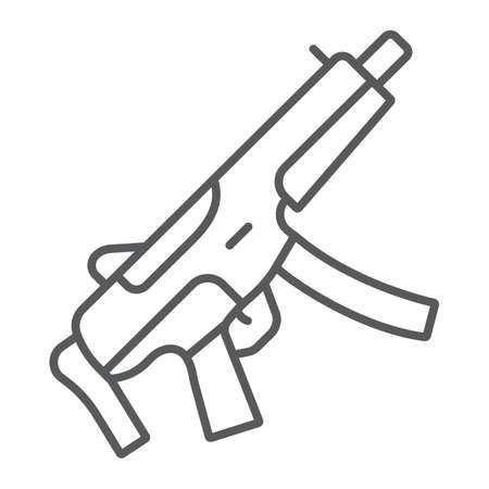 Submachine gun thin line icon, army and military, firearm sign, vector graphics, a linear pattern on a white background.  イラスト・ベクター素材