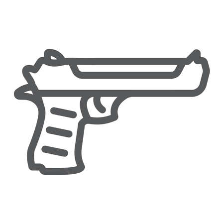 Desert eagle gun line icon, army and weapon, handgun sign, vector graphics, a linear pattern on a white background.  イラスト・ベクター素材