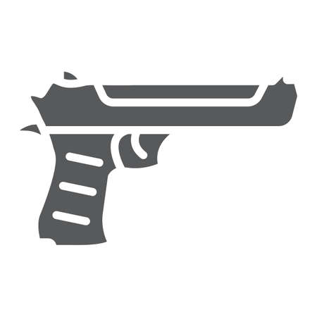 Desert eagle gun glyph icon, army and weapon, handgun sign, vector graphics, a solid pattern on a white background. Stock Illustratie