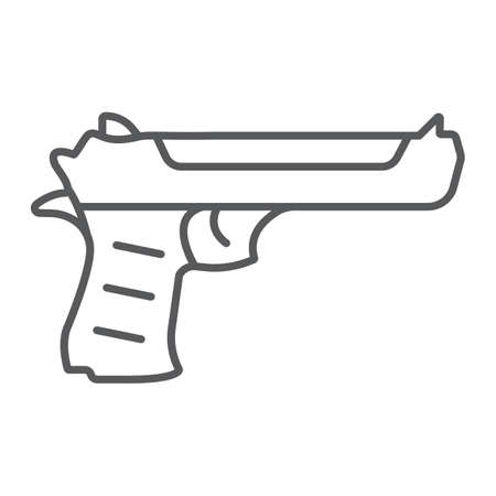 Desert eagle gun thin line icon, army and weapon, handgun sign, vector graphics, a linear pattern on a white background.
