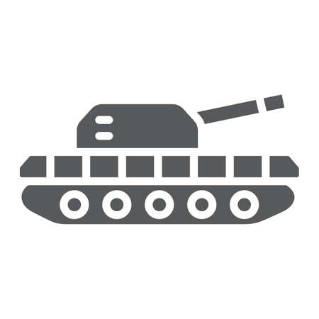 Army tank glyph icon, army and force, armature sign, vector graphics, a solid pattern on a white background.