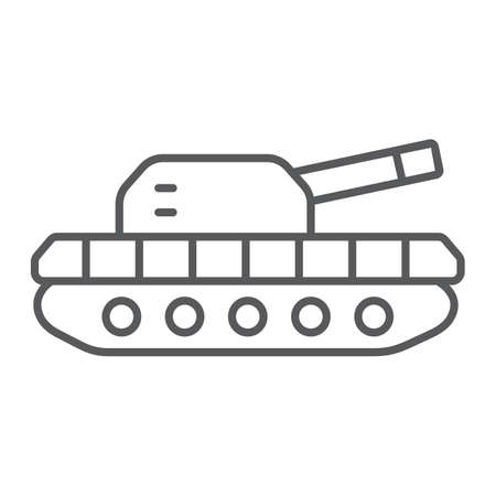 Army tank thin line icon, army and force, armature sign, vector graphics, a linear pattern on a white background.  イラスト・ベクター素材