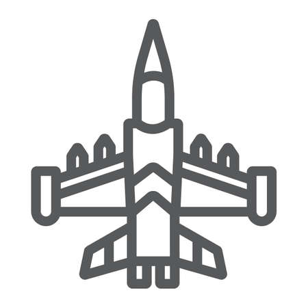 Jet fighter line icon, army and force, military airplane sign, vector graphics, a linear pattern on a white background.