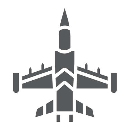 Jet fighter glyph icon, army and force, military airplane sign, vector graphics, a solid pattern on a white background.