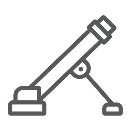 Military mortar line icon, army and force, weapon sign, vector graphics, a linear pattern on a white background.