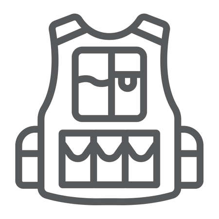 Military vest line icon, army and force, proof jacket sign, vector graphics, a linear pattern on a white background.  イラスト・ベクター素材