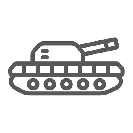 Army tank line icon, army and force, armature sign, vector graphics, a linear pattern on a white background.  イラスト・ベクター素材