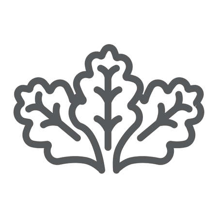 Lettuce line icon, vegetable and organic, salad sign, vector graphics, a linear pattern on a white background. Ilustração