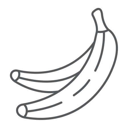 Banana thin line icon, fruits and vegetables, tropical fruit sign, vector graphics, a linear pattern on a white background. Иллюстрация