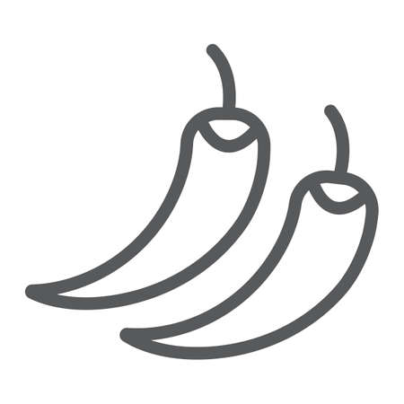 Hot chili peppers line icon, fruits and vegetables, spice food sign, vector graphics, a linear pattern on a white background.