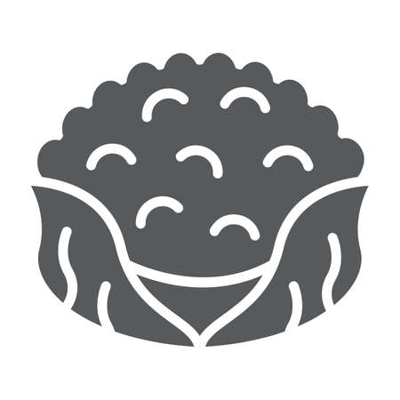 Cauliflower glyph icon, food and organic, vegetable sign, vector graphics, a solid pattern on a white backgrond.
