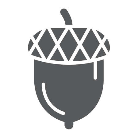 Acorn glyph icon, oak and growth, plant sign, vector graphics, a solid pattern on a white backgrond. Vektorové ilustrace