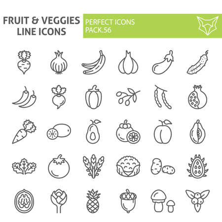 Fruits and vegetables line icon set, food symbols collection, vector sketches,  illustrations, grocery signs linear pictograms package isolated on white background.  イラスト・ベクター素材