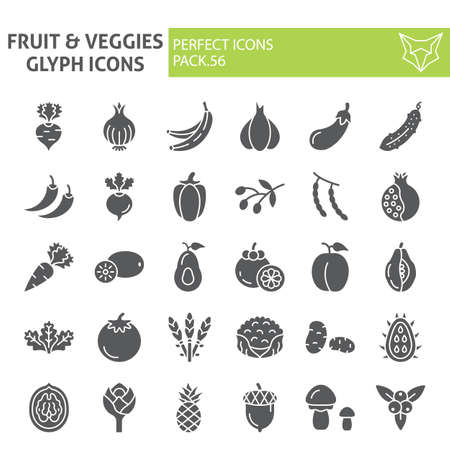 Fruits and vegetables glyph icon set, food symbols collection, vector sketches,  illustrations, grocery signs solid pictograms package isolated on white background.