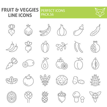 Fruits and vegetables thin line icon set, food symbols collection, vector sketches,  illustrations, grocery signs linear pictograms package isolated on white background. Zdjęcie Seryjne - 131774790