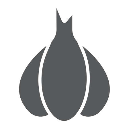 Garlic glyph icon, pungent and vegetable, clove sign, vector graphics, a solid pattern on a white backgrond. Ilustração