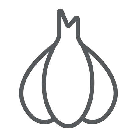 Garlic line icon, pungent and vegetable, clove sign, vector graphics, a linear pattern on a white backgrond. Ilustração