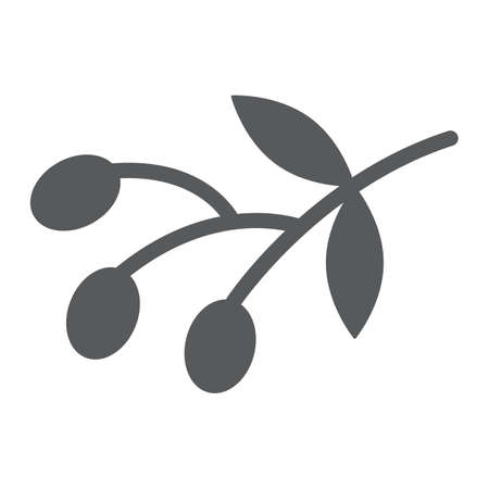 Olives glyph icon, food and vegetable, olive branch sign, vector graphics, a solid pattern on a white backgrond.