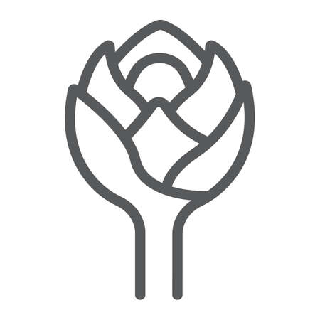 Artichoke line icon, food and exotic, tropical fruit sign, vector graphics, a linear pattern on a white backgrond.