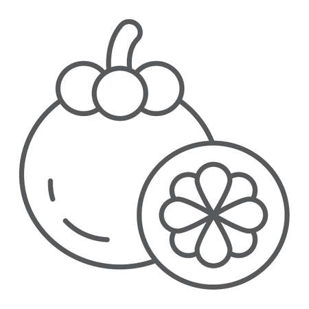 Mangosteen thin line icon, food and vitamin, exotic fruit sign, vector graphics, a linear pattern on a white backgrond.