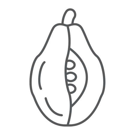Papaya thin line icon, food and vitamin, exotic fruit sign, vector graphics, a linear pattern on a white backgrond.