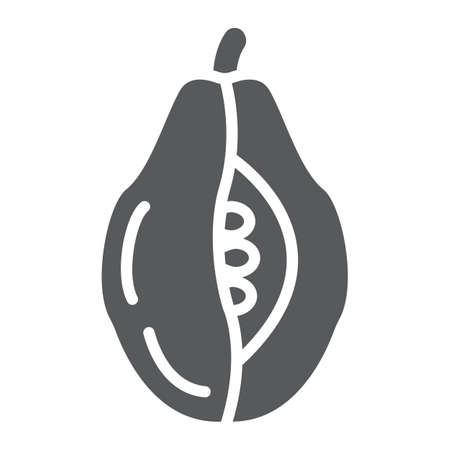 Papaya glyph icon, food and vitamin, exotic fruit sign, vector graphics, a solid pattern on a white backgrond.
