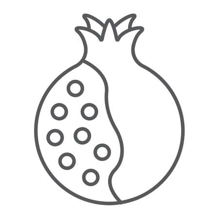Pomegranate thin line icon, food and fruit, vitamin sign, vector graphics, a linear pattern on a white backgrond.