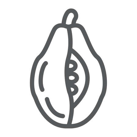 Papaya line icon, food and vitamin, exotic fruit sign, vector graphics, a linear pattern on a white backgrond.