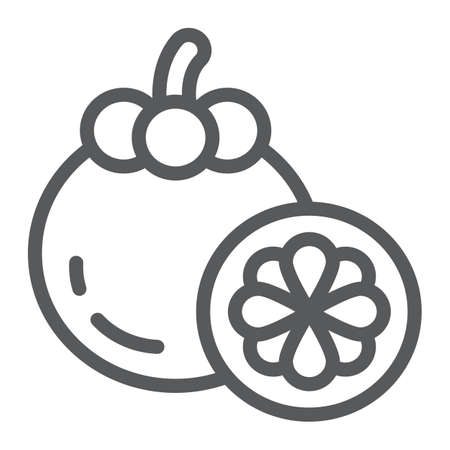 Mangosteen line icon, food and vitamin, exotic fruit sign, vector graphics, a linear pattern on a white backgrond.