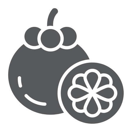 Mangosteen glyph icon, food and vitamin, exotic fruit sign, vector graphics, a solid pattern on a white backgrond.