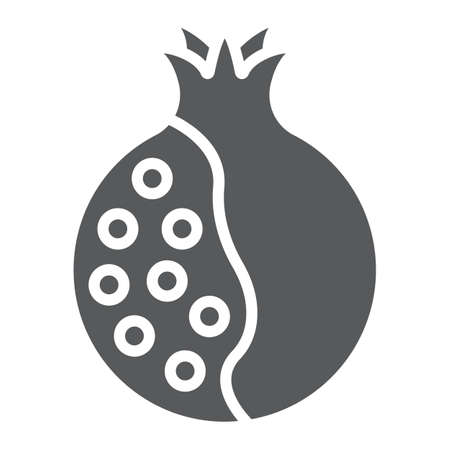 Pomegranate glyph icon, food and fruit, vitamin sign, vector graphics, a solid pattern on a white backgrond.