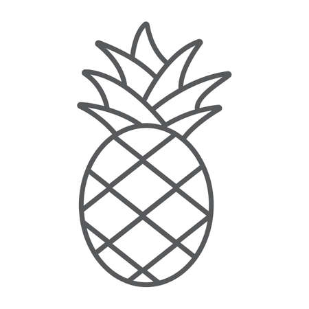 Pineapple thin line icon, fruit and food, tropical fruit sign, vector graphics, a linear pattern on a white background. Ilustracja