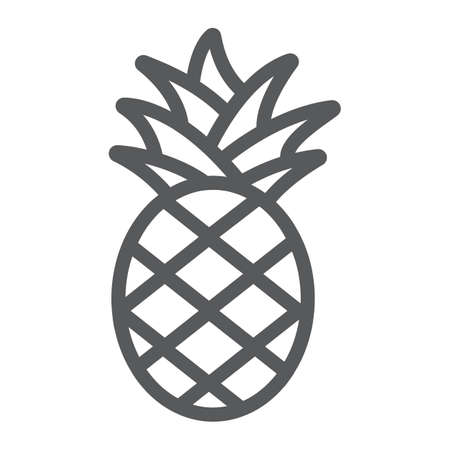 Pineapple line icon, fruit and food, tropical fruit sign, vector graphics, a linear pattern on a white background. Ilustracja