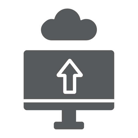 Cloud upload glyph icon, technology and system, data transfering sign, vector graphics, a solid pattern on a white background.  イラスト・ベクター素材