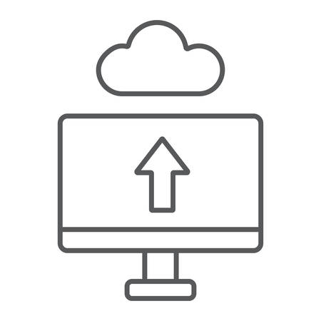 Cloud upload thin line icon, technology and system, data transfering sign, vector graphics, a linear pattern on a white background.  イラスト・ベクター素材