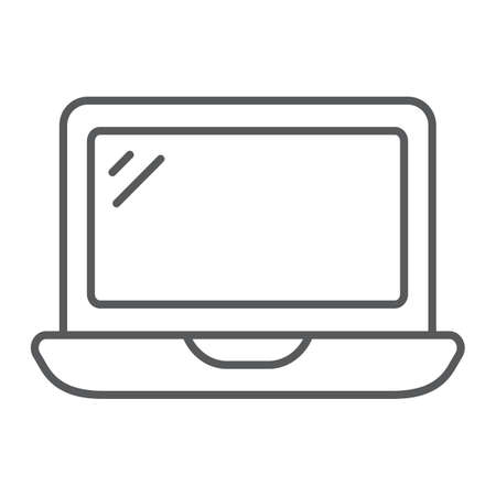 Laptop thin line icon, technology and computer, notebook sign, vector graphics, a linear pattern on a white background.