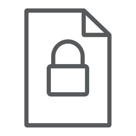 Locked file line icon, document and computer, file with padlock sign, vector graphics, a linear pattern on a white background. Stok Fotoğraf - 131775483