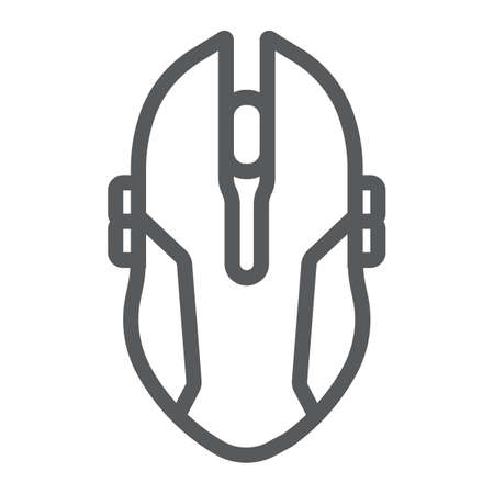 Gaming mouse line icon, game and device, computer mouse sign, vector graphics, a linear pattern on a white background.